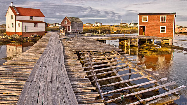 Wooden dock and houses Newfoundland