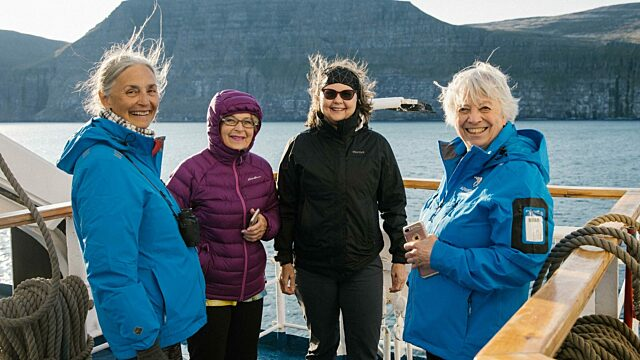 Travellers in wind proof jackets