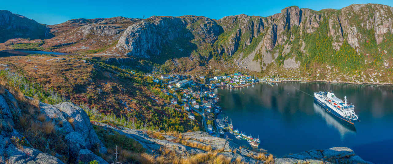 Panorama view of Francois Newfoundland from Charlies Head lookout