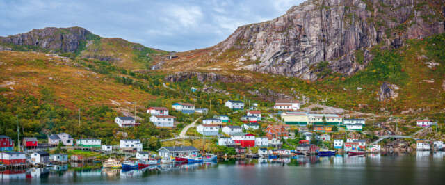 Panorama colourful town of Francois Newfoundland