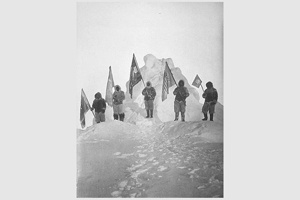 Sledge Party and Flags at the Pole image by Robert Peary public domain 3x2