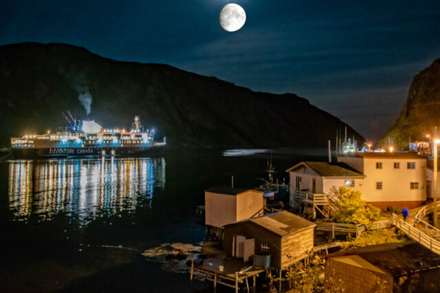 Francois Newfoundland and ship by moonlight