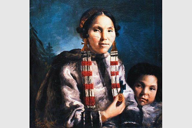 Mikak and her son Tutauk painting by John Russell 1769
