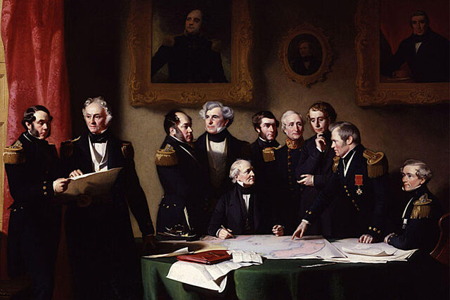 The Arctic Council planning search for Franklin painting by Stephen Pearce