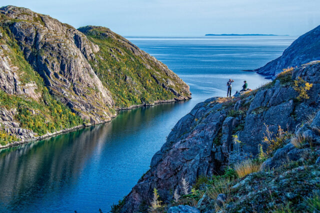 Hikers at Charlies Head Lookout Francois Newfoundland