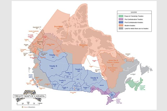 Historical and modern day treaty map canada