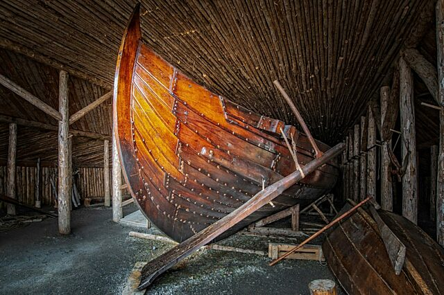 Viking ship with steerboard