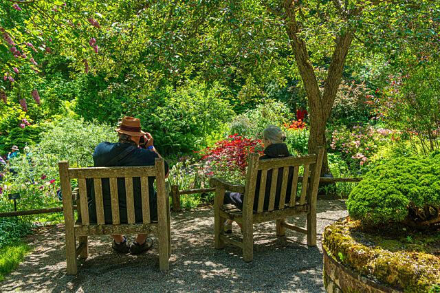 Visitors Reford Gardens sitting on wooden chairs