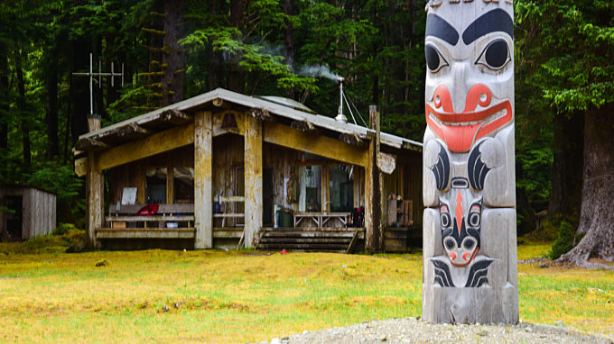Totem Infront Of A House