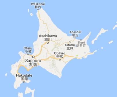 hokkaido japan map