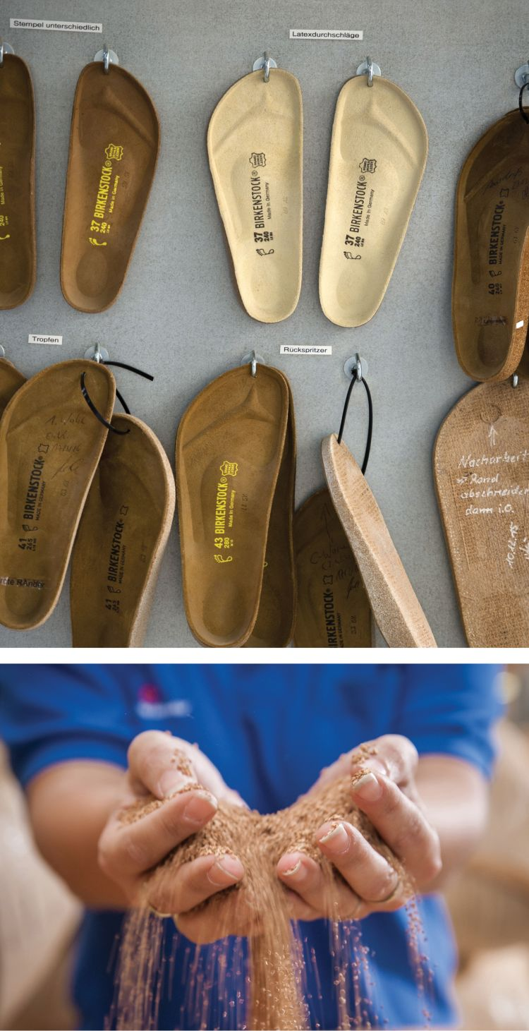 3c505e5e52d2 The soft sole that molds to the shape of the wearer s foot (top) is made  with thermal cork (bottom).