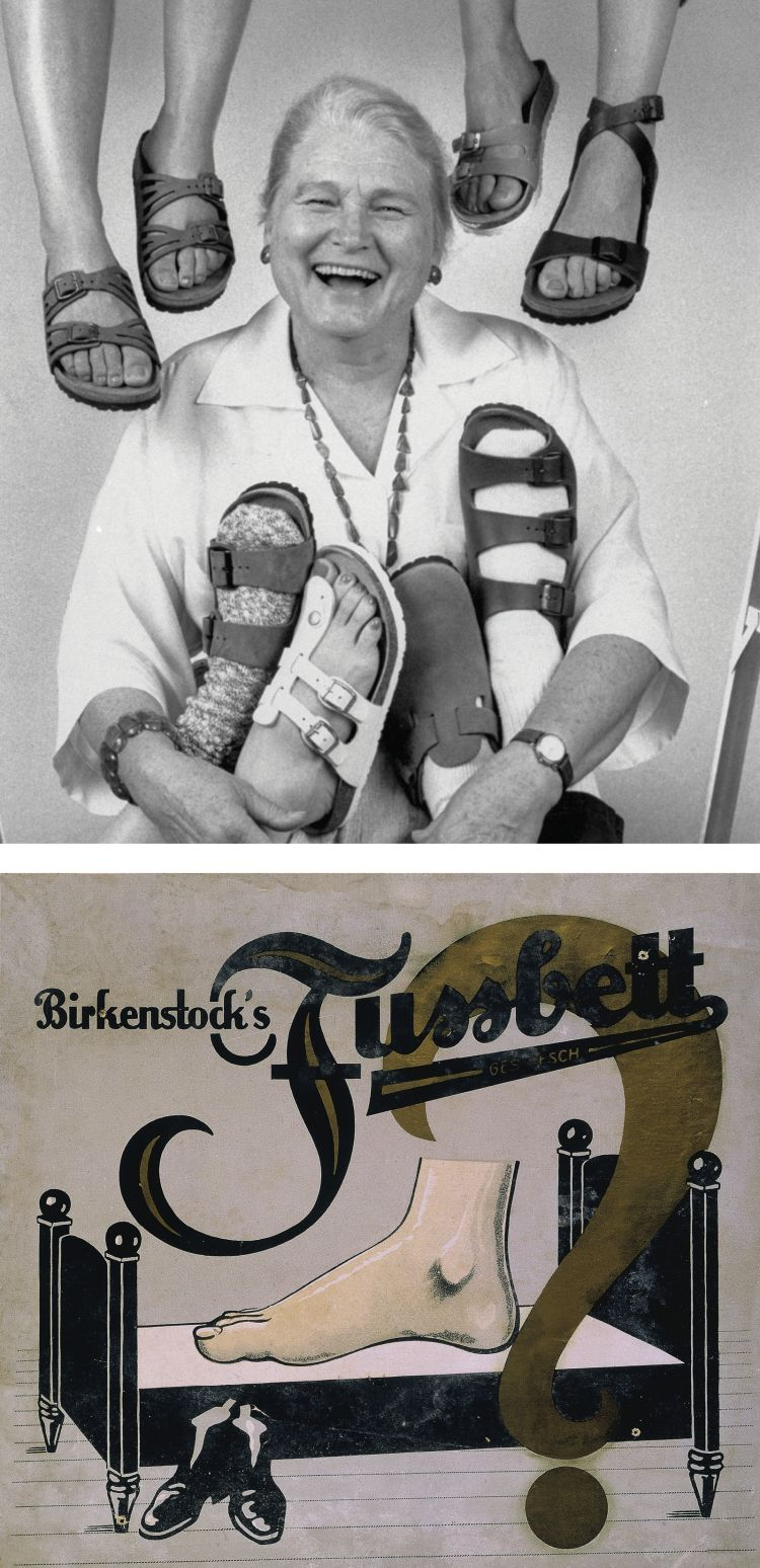 2c4e06a2a412 Birkenstocks and their famous footbed (bottom) were brought to America in  the 1960s by Margot Fraser (top).