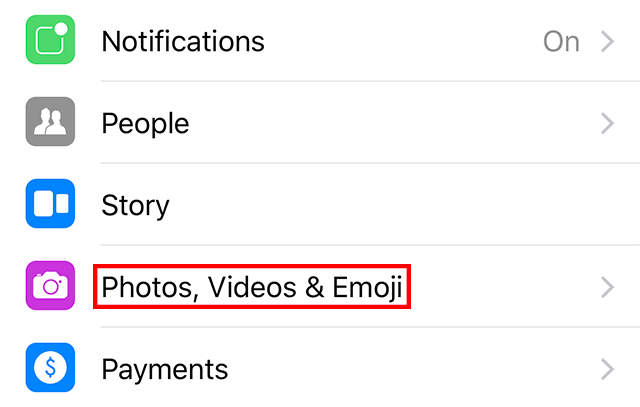 """The """"Photos, Videos, & Emoji"""" setting is highlighted."""