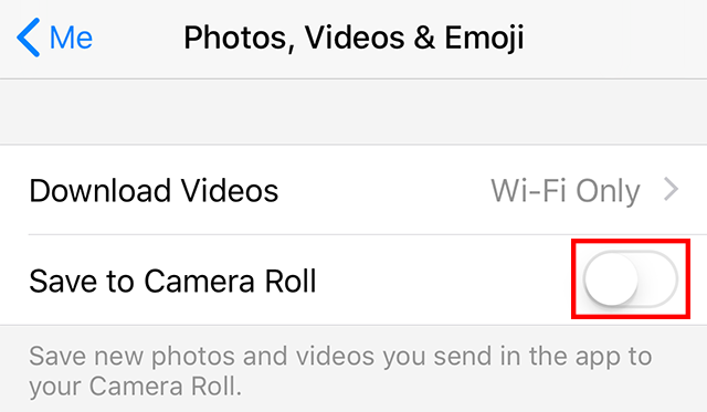 """The """"Save to Camera Roll"""" setting is highlighted."""