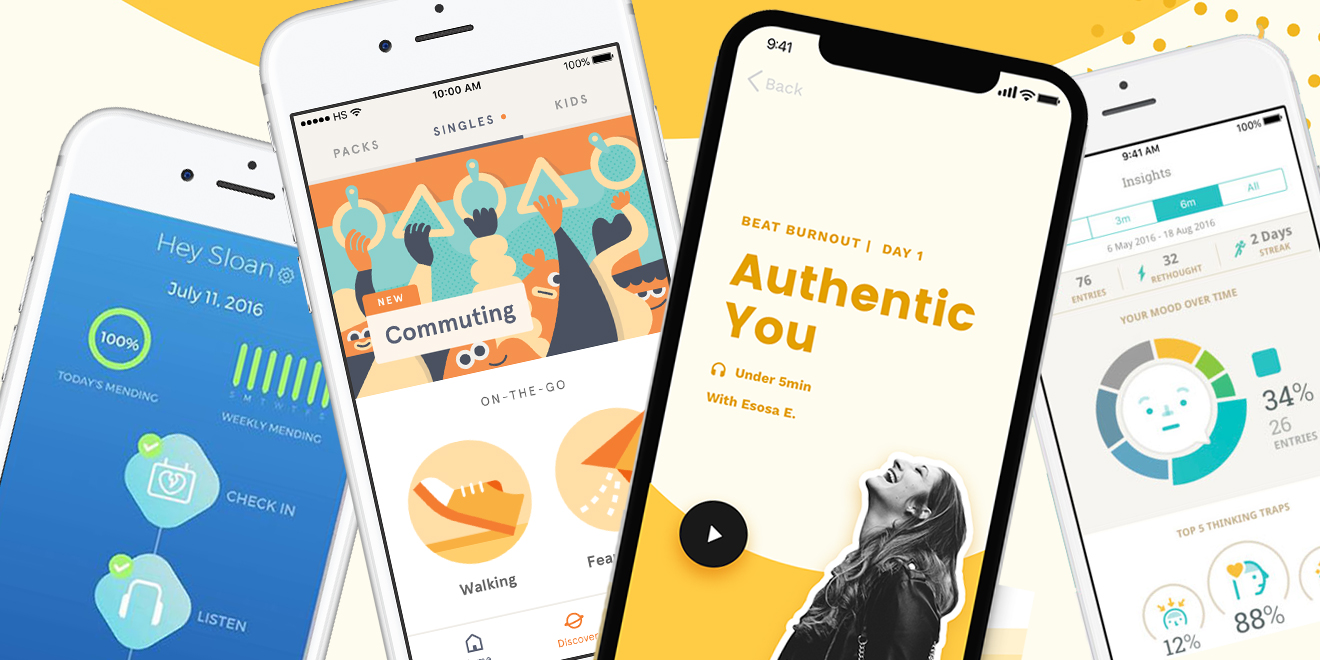 Smartphones show screenshots from meditation apps.