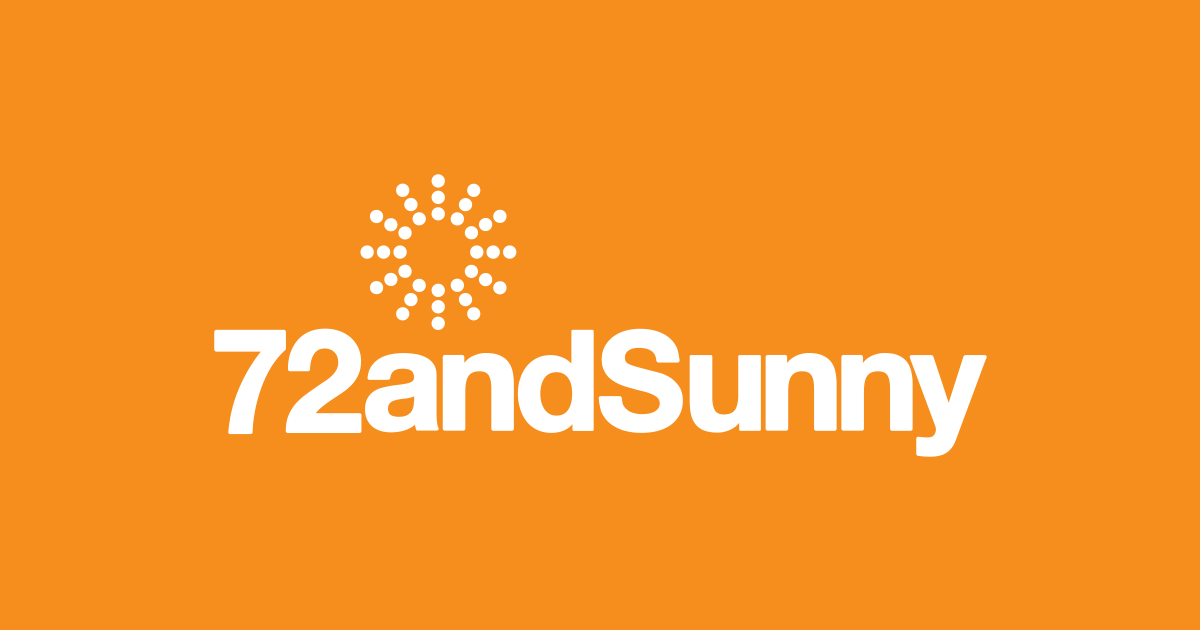 72andSunny logo, white text on orange background with dotted sunshine