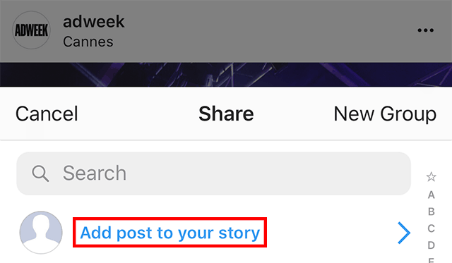 """The """"add post to your story"""" function is highlighted."""