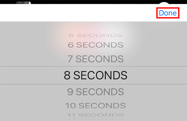 """The """"done"""" button is pressed when a time is selected."""
