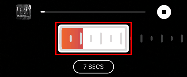 A slider is used to select a different portion of a song.