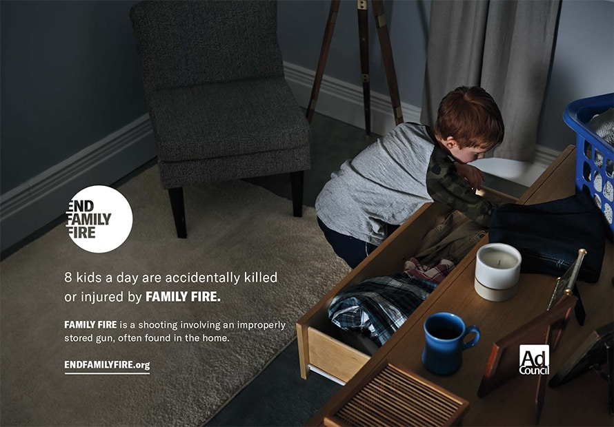 A child searches through a dresser in this End Family Fire print ad.