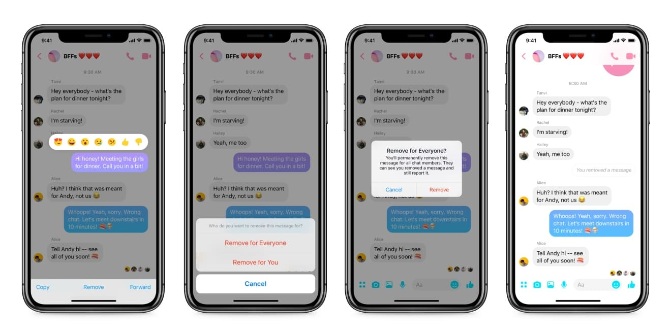 Four Facebook Messenger screens are shown.