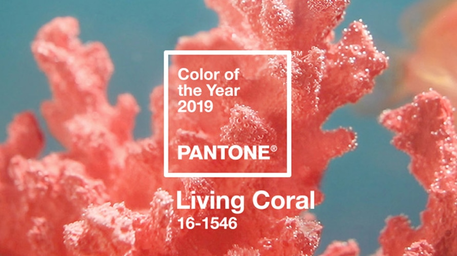Pantone's Living Coral is shown.