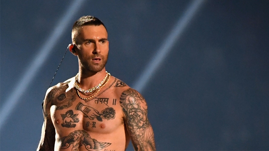 Adam Levine is shown performing at Super Bowl LIII.