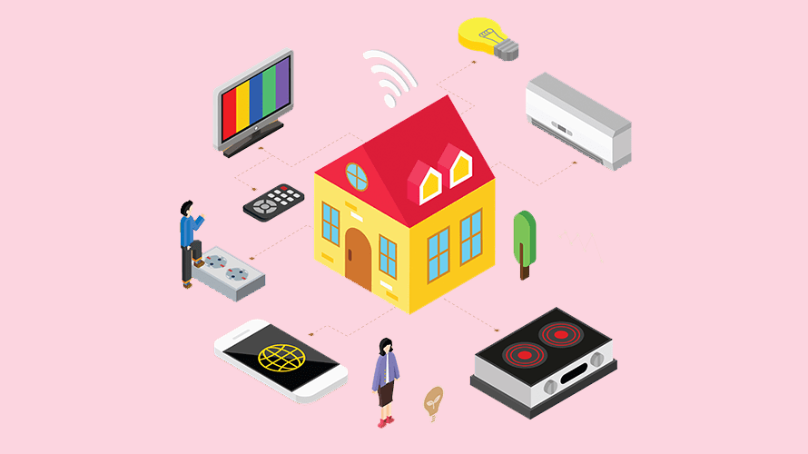pink background; in the middle is a house; there are arrows pointing out of the house; the arrows point a TV, smartphone, tape recorder, and a speaker