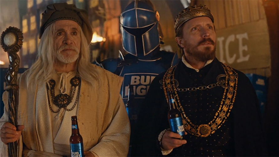 "A Budweiser ad features the cast of medieval ""Dilly Dilly."""