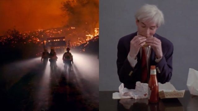 two images side by side; the image on the right is Andy Warhol eating Burger King; the image on the left is firefighters putting out a fire