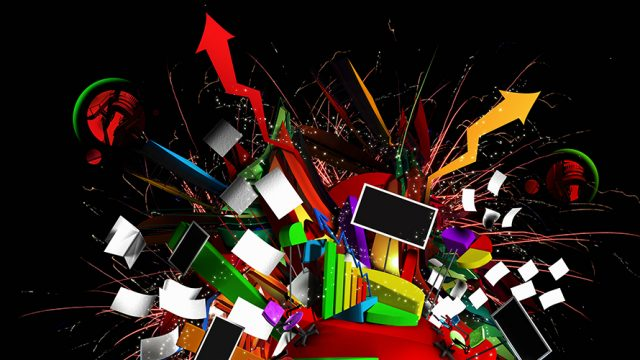 a computer; coming out of all ends of the computer is various lines; symbolizing data overload
