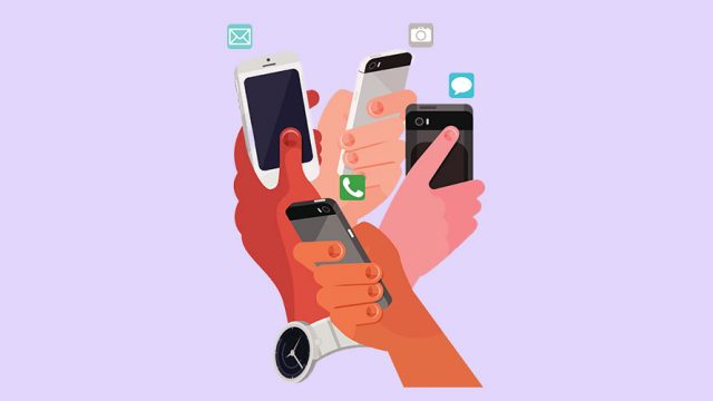 four different hands holding four different phones; each phone is receiving a different notification