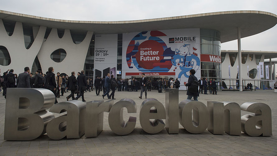 Mobile World Congress and a sign that says Barcelona