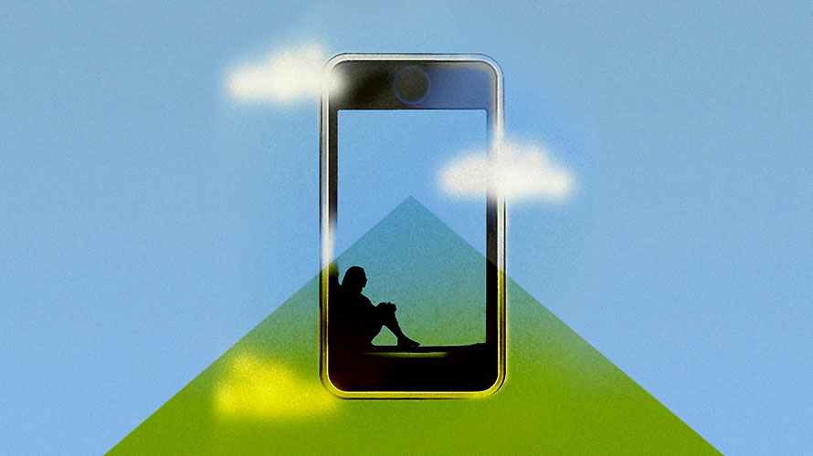 An upside down iPhone; on the screen someone sits in the corner; in the background is a green triangle, blue skies, and a few clouds