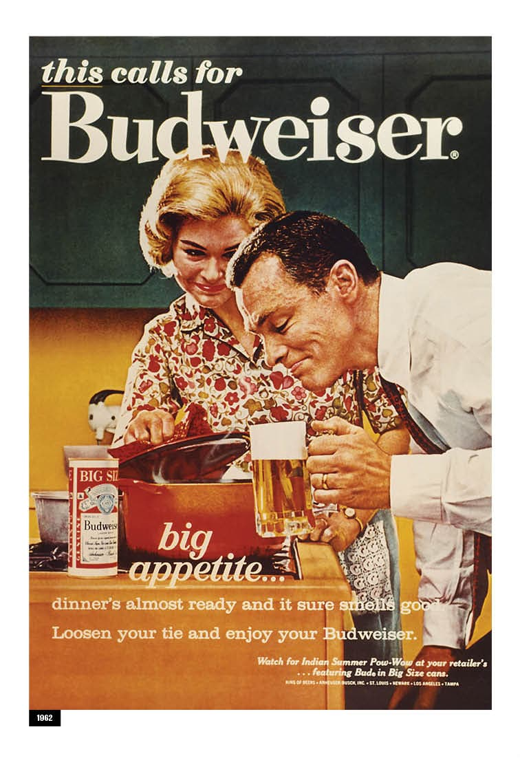 A Budweiser advertisement from 1962 is shown.