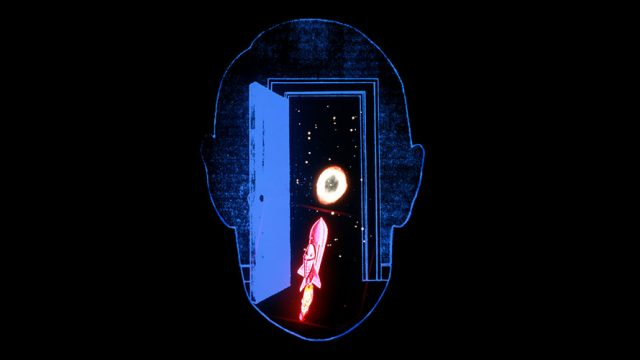 the outline of a person's head; in the middle is outer space and a rocket ship