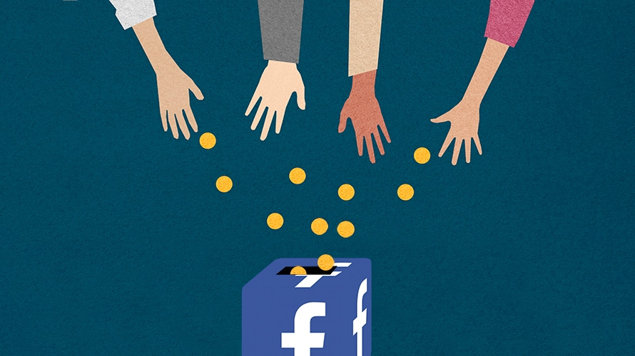 blue background; in the middle is a collection box with the facebook logo on it; hands are pouring gold coins into the box