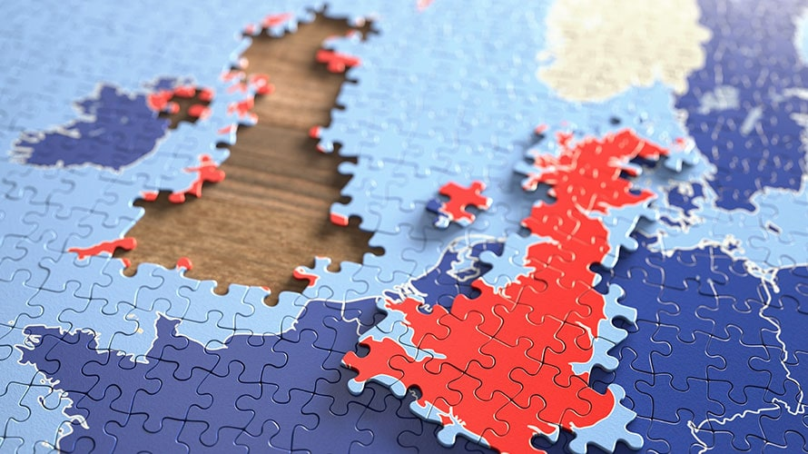 There a completed puzzle; taken out of the puzzle are a group of pieces which are supposed to represent England