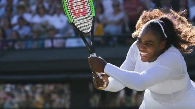 Serena Williams hits a tennis ball in a match