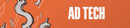Orange background with silver dollar signs and white-outlined arrows to the left. Text reads: Ad Tech.