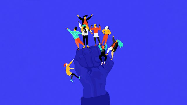 blue background; fist raised in the air; a handful of people flexing their muscles on the fist