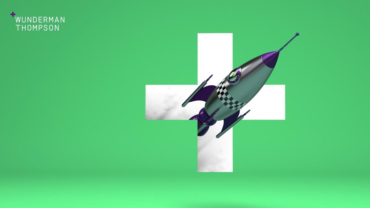 "Green background with Wunderman Thompson white ""plus"" logo and spaceship"