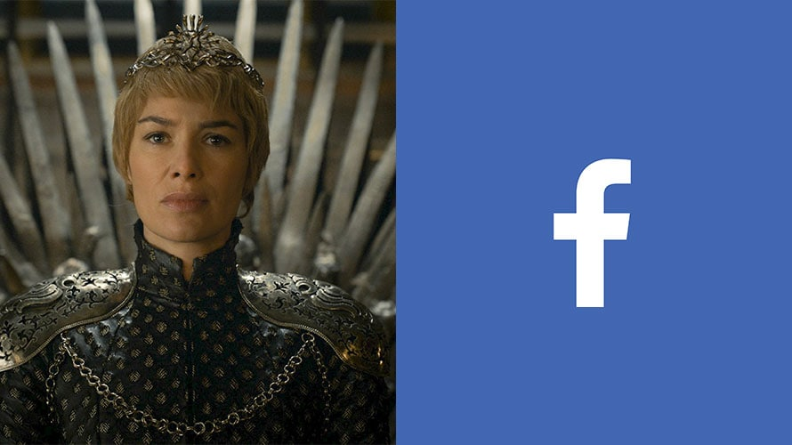 Cersei Lannister from Game of Thrones next to the FaceBook logo