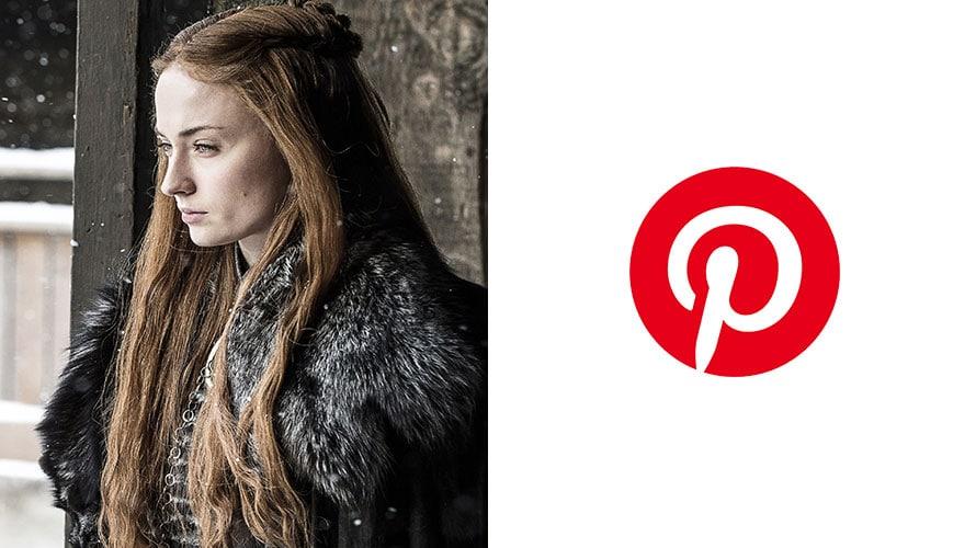 Sansa Stark next to the Pinterest logo