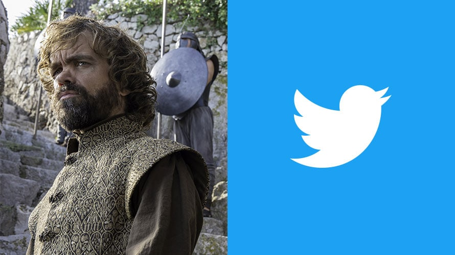 Tyrion Lannister from Game of Thrones next to the Twitter logo
