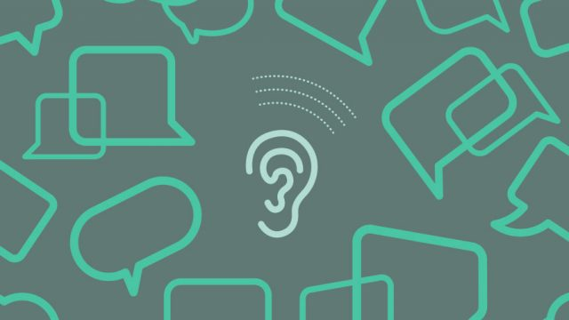 In the middle of a black background is an ear; surrounding the ear are a ton of speech bubbles