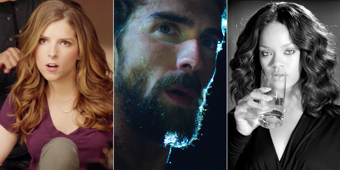 From left: Anna Kendrick for Newcastle, Michael Phelps for Under Armour, and Rihanna for the Tap Project.