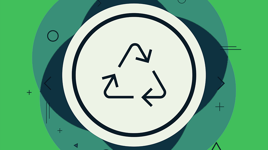 background is various shades of green; in the middle is a white circle; inside the circle is the eco friendly, reduce-reuse-recycle sign