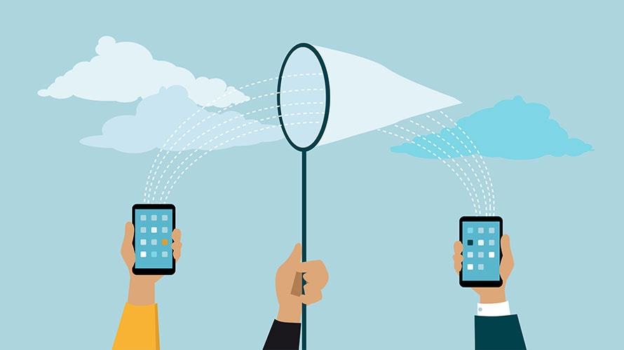 Three hands are raised in the air; the first hand on the left holds a smartphone; the middle hand holds a net; the last hand on the right holds a smartphone