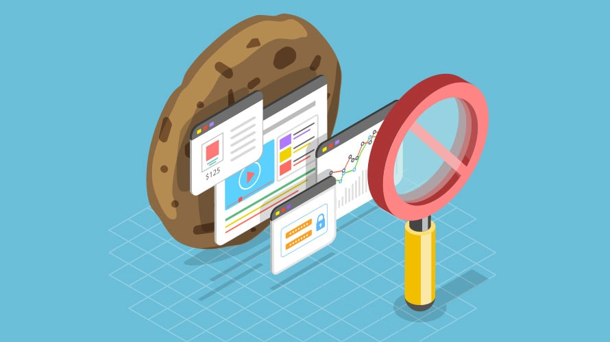 Blue background; To the left there is a cookie; on the cookie are four webpages; positioned at the cookie is a red magnifying glass